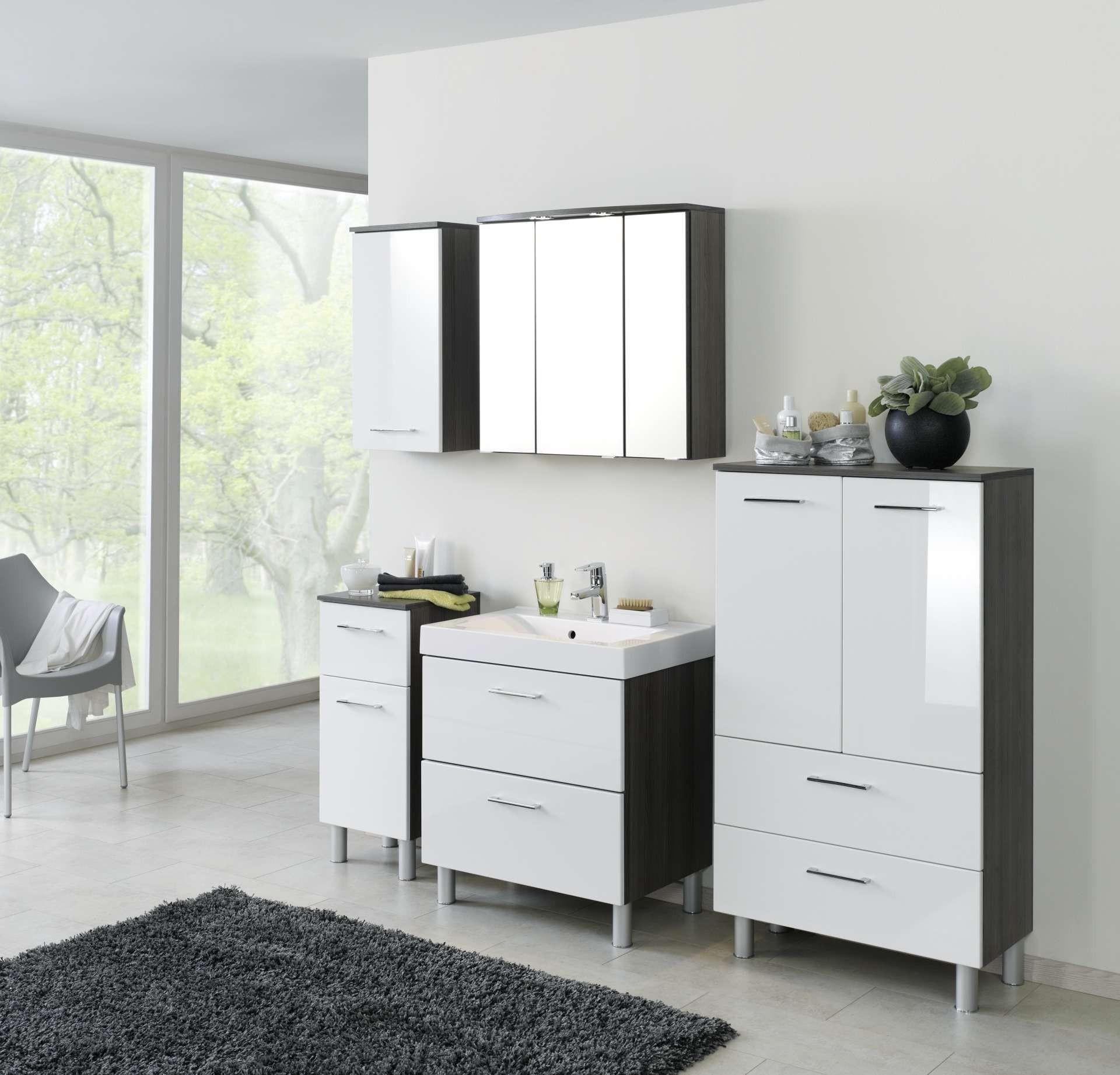 bad midischrank marinello 1 t rig 2 schubladen 35 cm breit hochglanz wei eiche dunkel. Black Bedroom Furniture Sets. Home Design Ideas