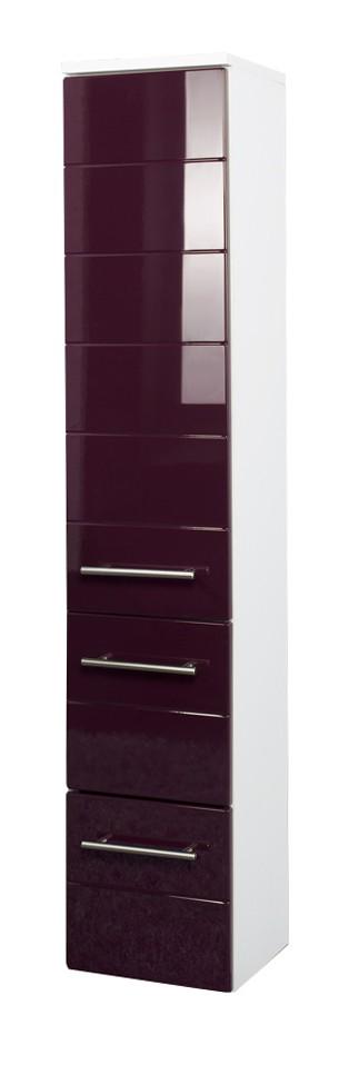 bad midischrank rimini 1 t rig 2 schublade 25 cm breit hochglanz aubergine bad rimini. Black Bedroom Furniture Sets. Home Design Ideas