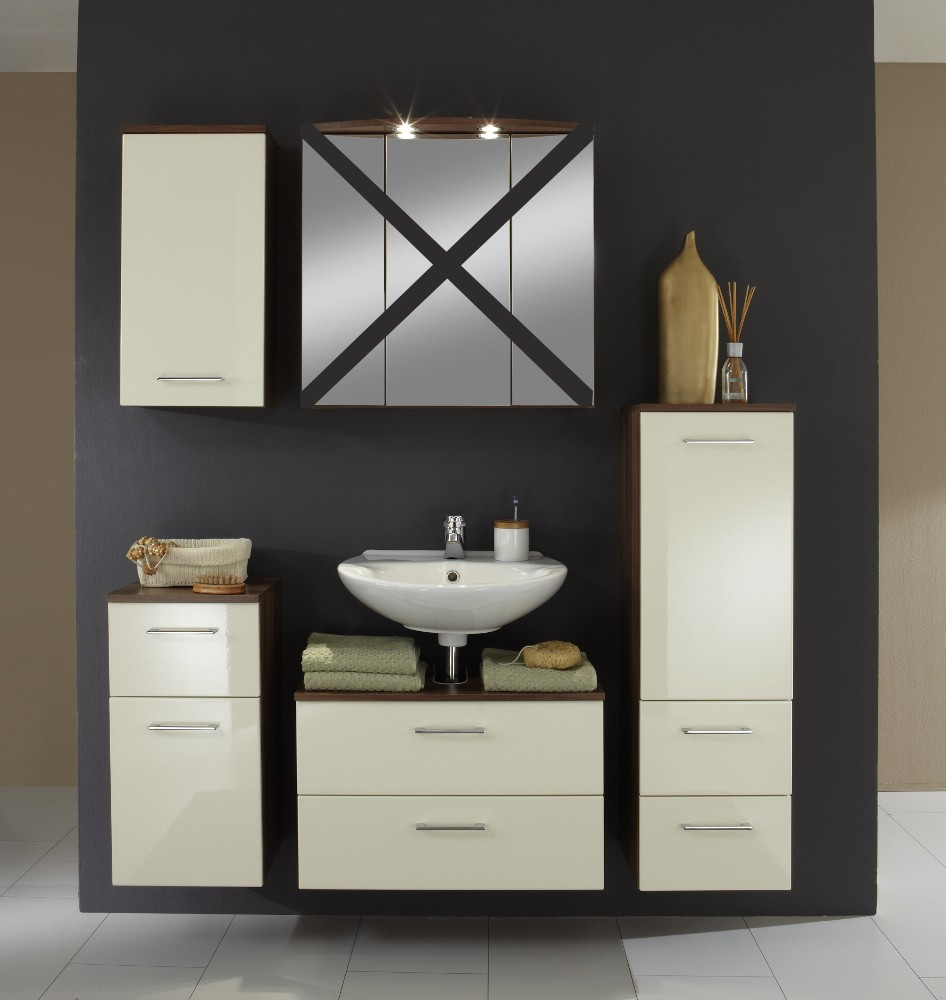 badm bel set next 4 teilig 140 cm breit hochglanz creme bad badm belsets. Black Bedroom Furniture Sets. Home Design Ideas