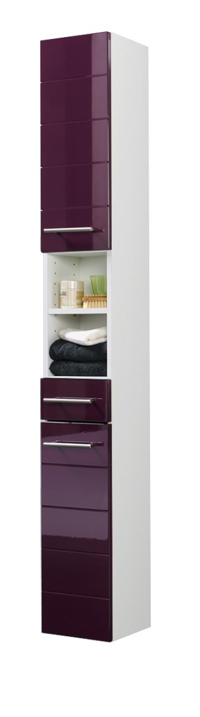 bad hochschrank rimini 2 t rig 1 schublade 25 cm breit hochglanz aubergine bad rimini. Black Bedroom Furniture Sets. Home Design Ideas