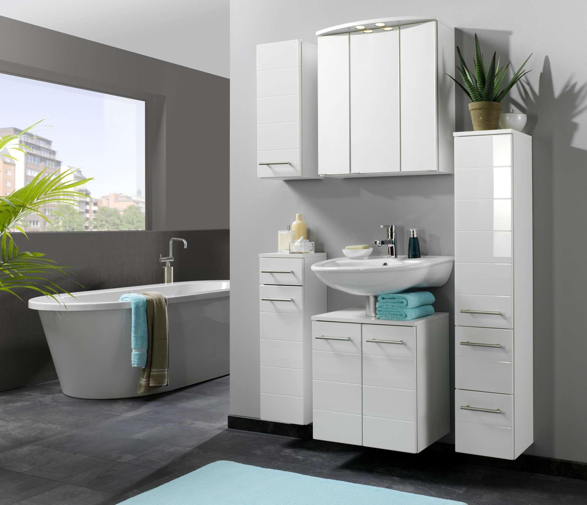 bad hochschrank rimini 2 t rig 1 schublade 25 cm. Black Bedroom Furniture Sets. Home Design Ideas