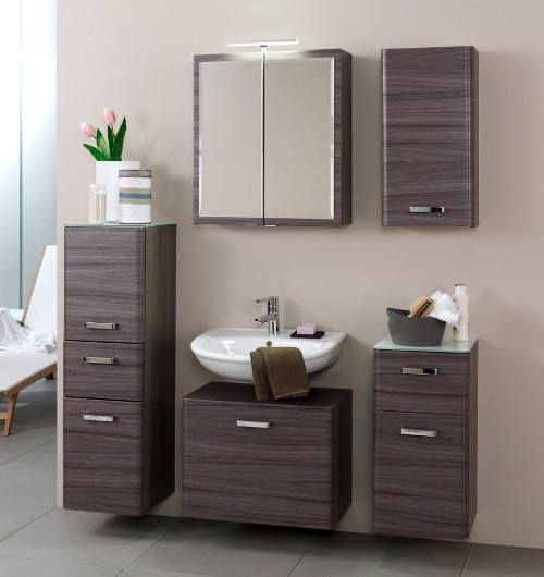 bad waschbeckenunterschrank phoenix 1 auszug 60 cm breit eiche dunkel echtholzstruktur bad. Black Bedroom Furniture Sets. Home Design Ideas