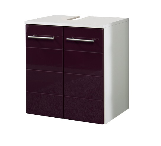 bad waschbeckenunterschrank rimini 2 t rig 50 cm breit hochglanz aubergine bad rimini. Black Bedroom Furniture Sets. Home Design Ideas